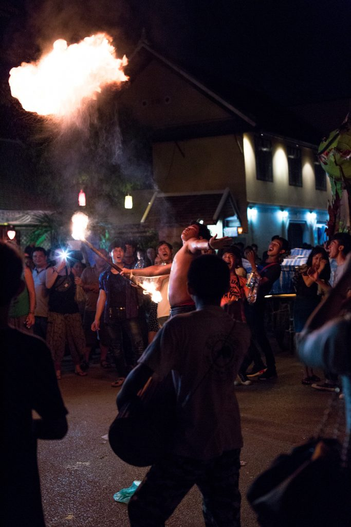 Fire-eater on the street