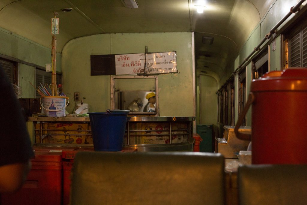 The dining car of the night train