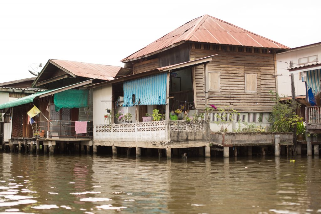 Wooden stilt houses