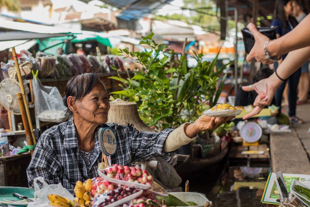 Merchant selling food