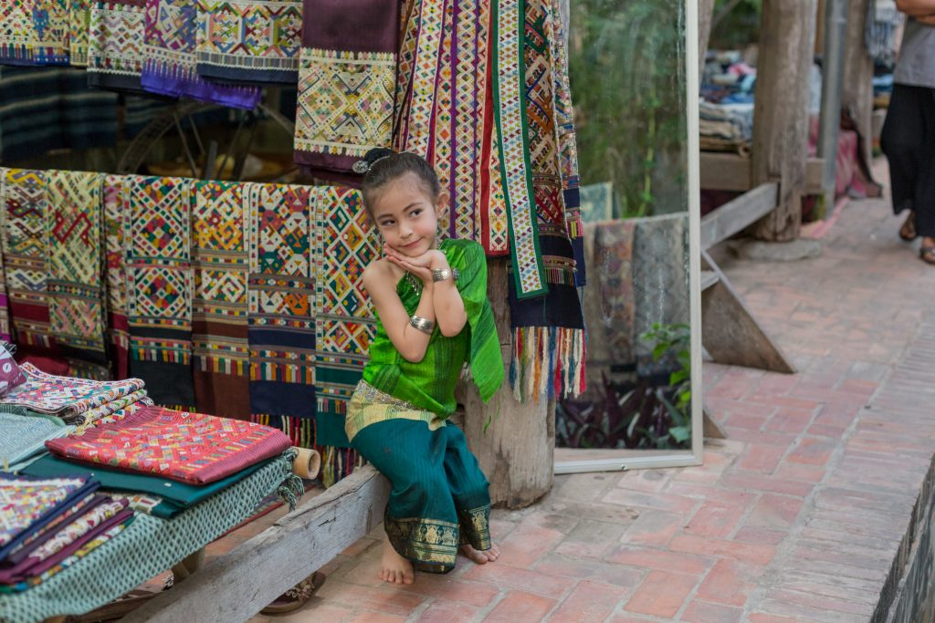 Girl wearing a traditional sinh