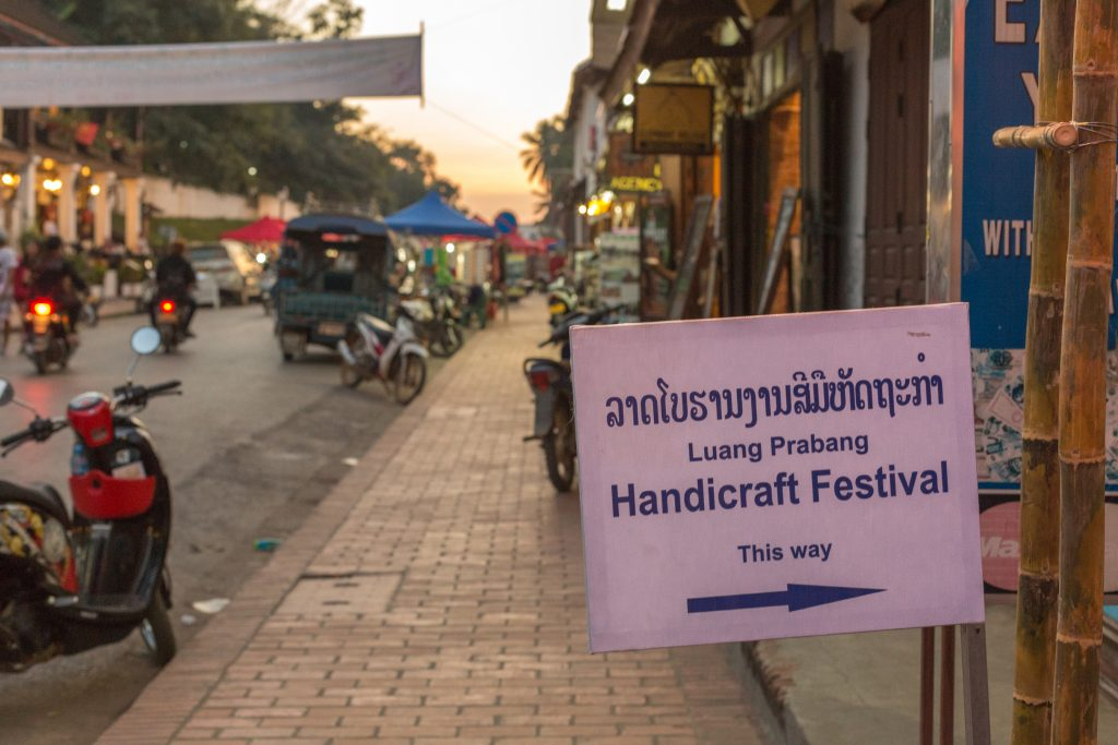 Handicraft Festival signpost at the main road
